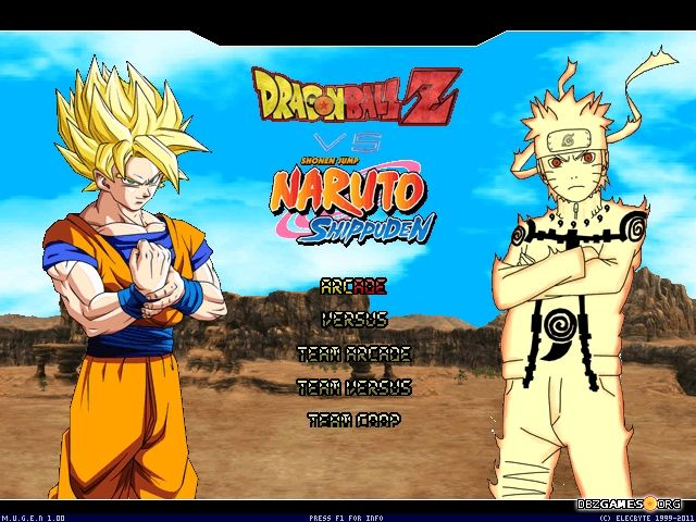 dragon ball z vs naruto shippuden mugen title screen