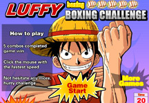 Luffy Boxing Challenge Title Screen